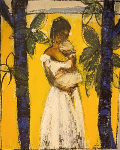 Mother and Child on Yellow