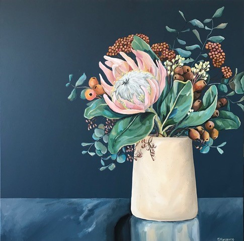 Protea and Gumnuts with Clay Vase